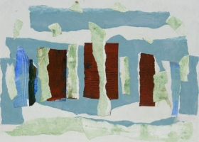 Rip it up no 15, 2016. 25.5 x 30.5 cms. Acrylic and paper on primed hardboard.